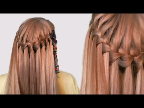 Hairstyle French Waterfall (video tutorial). Прическа французский водопад (видео урок). причёска водопад урок 30 видео
